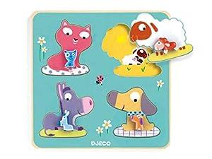 DJECO- RompecabezasPuzzles encajables y rompecabezasDJECOEncajable Mamifarm, Multicolor (15)