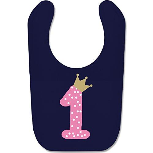 Shirtracer Geburtstag Baby - 1. Geburtstag Krone Mädchen Erster - Unisize - Navy Blau - BZ12 - Baby Lätzchen Baumwolle (Baby, Geburtstag Party-ideen)