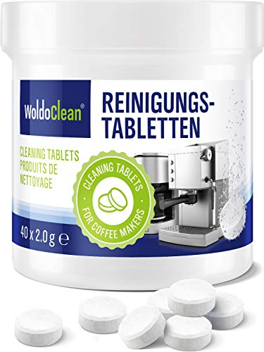 Pastillas para la limpieza de cafeteras automáticas - 40x tabletas limpiadoras compatible con marcas, Delonghi, Dolce Gusto, Nespresso, Seaco, Krups, Senseo, Bosch