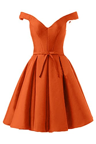 Sunvary Glamour Neu Satin V-Neck Traeger Schleier 2016 Lang/Kurz Abendkleider Ballkleider Mutterkleid Kurz-Orange
