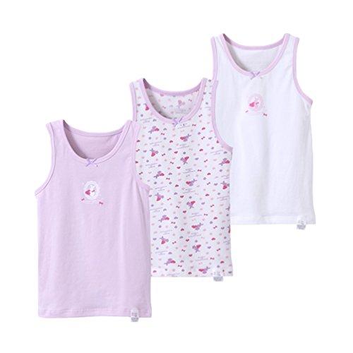 YuanDiann Mädchen Jungen Unterhemden Casual Drucken Weiche Elastische Kinder Kleinkind Baumwolle Ärmellose Unterwäsche Tops Tank Cami 3er Pack Lila Kaninchen 90