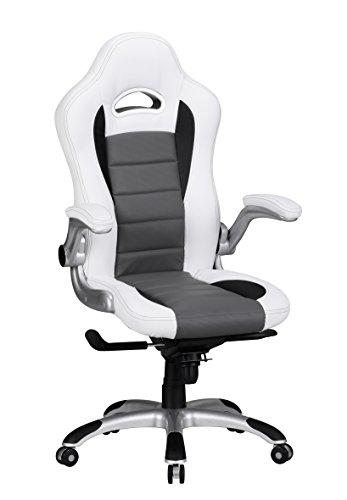 ACING Bezug Kunstleder Weiß Design Schreibtischstuhl X-XL 120kg Chefsessel höhenverstellbar Drehstuhl ergonomisch mit Armlehnen Racer hohe Rücken-Lehne Wippfunktion Race hoch ergo ()