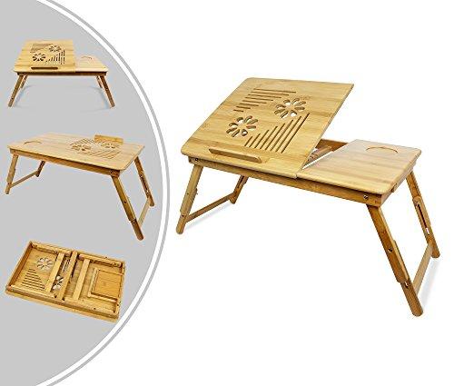 Leogreen - Mesa Portátil para Laptop, Soporte Ajustable de Bambú para Laptop, Escritorio Ajustable con la ventilación Grande, Material: Bambú