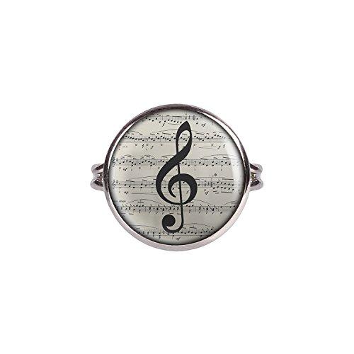Mylery Ring mit Motiv Noten-Schlüssel Noten-Blatt Musik silber 16mm