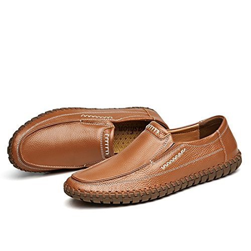 Minitoo Boys Mens Stitched Fashon Penny Loafers Brown