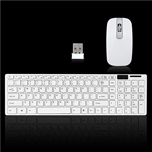 Kabellos Tastatur und Maus Set, 2,4 G Optische Kompakt Maus, Full Sized Tastatur Combo mit Schützende Abdeckung und USB Empfänger Set für Computer PC Windows (Weiß) - Weiß - Kompakte Optische Maus