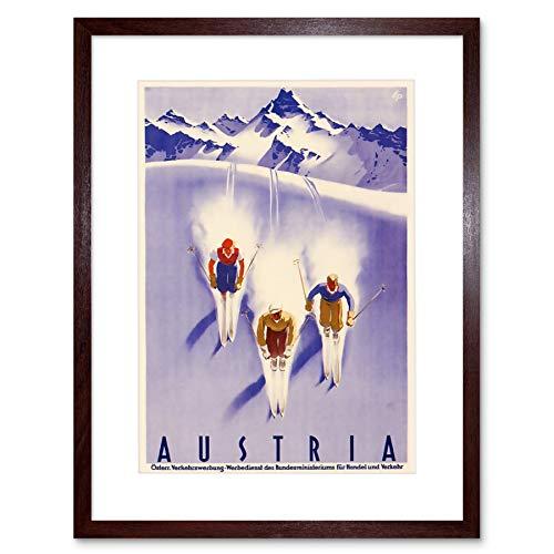Mount Snow (TRAVEL TOURISM WINTER SPORT AUSTRIA SKI SNOW ALP FRAMED ART PRINT MOUNT B12X3352)