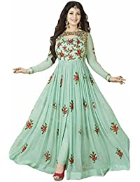 Generic Aryan Fashion Women's Georgette Long Anarkali Semi-Stitched Suit (Green, Bottom Unstitched)