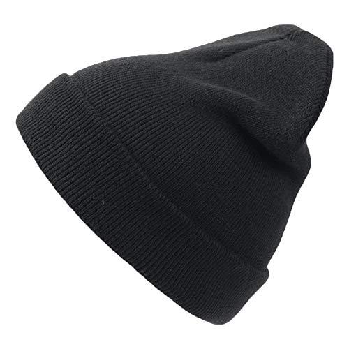 Männer Einfache Schwarz Kostüm - noTrash2003 Unisex Youth NO Doppelstrickmütze Umschlagmützen Wintermütze (One Size - schwarz), Black