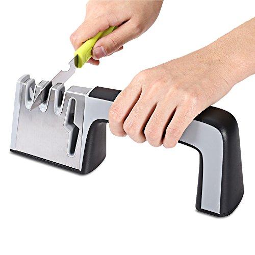 SHUFAGN,Einzigartiges Schneiden 4 in 1 Edelstahl-Messerscherenschärfkeramik-Schleifwerkzeug(color:SCHWARZ)