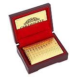 VGEBY1 Cartes à Jouer en Plastique, Cartes de Poker Etanches Cartes de Jeu de Table Enduites de Faux Or pour Jeux de Cartes(Check & Wood Box)