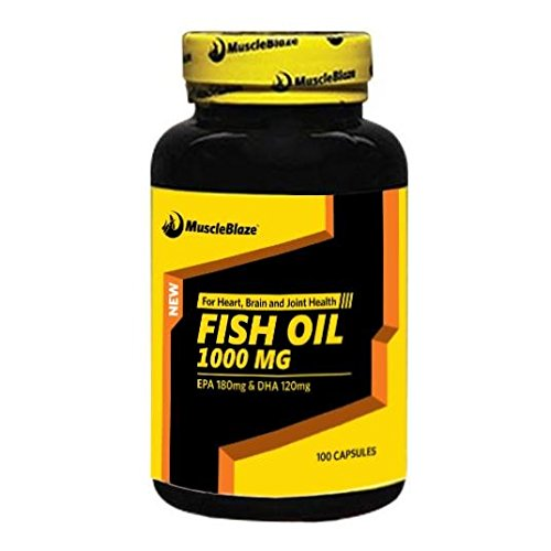 MuscleBlaze Omega 3 Fish Oil 1000 mg (180mg EPA and 120mg DHA) (100 capsules)  available at amazon for Rs.519