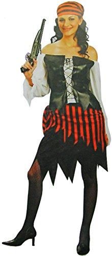 Damen Piratin-Kostüm Piraten Seeräuber-in Gr. 40/42 Fluch-Verkleidung Karneval Fasching (Mädchen Piraten Kostüme Erwachsene)