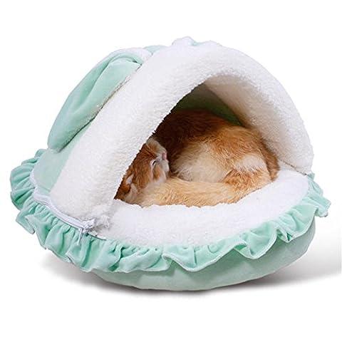 Lit d'animal familier Conception de lapin Cage de chat Chenil Rose Vert Tente douce chaude Coussin lavable chaud , green , s