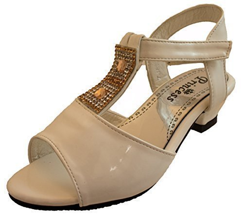 Or Fille Ou Blanc Chaussures Mariage Demoiselle d'honneur été Velcro Talon Bas Taille De Sandales UK 7 - 3 Blanc