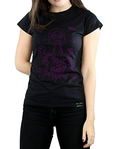 Absolute Cult Femme Rick And Morty Space Puke T-Shirt Noir