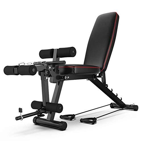 Verstellbare Hantelbank mit Rudergerät Flache Neigung Kraftsportbank Sitzen Sie im Fitnessstudio für EIN Ganzkörpertraining