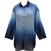 de Vacaciones EN Hawai Blusas de La Camisa de Botón Relajado Hasta Las Mujeres de Manga Corta Azul Marino XXL