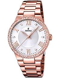 University Sports Press  F16721/1 - Reloj de cuarzo para mujer, con correa de acero inoxidable chapado, color oro rosa