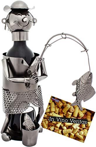 BRUBAKER Weinflaschenhalter Angler - Flaschenständer aus Metall mit Grußkarte für Weingeschenk