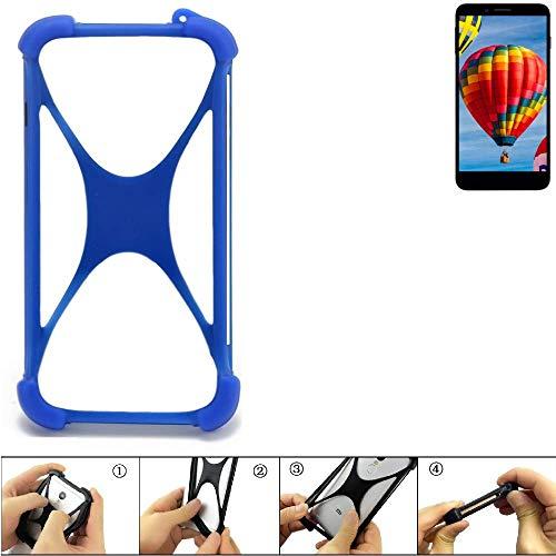 K-S-Trade Handyhülle für Vestel V3 5030 Silikon Schutz Hülle Cover Case Bumper Silikoncase TPU Softcase Schutzhülle Smartphone Stoßschutz, blau (1x)