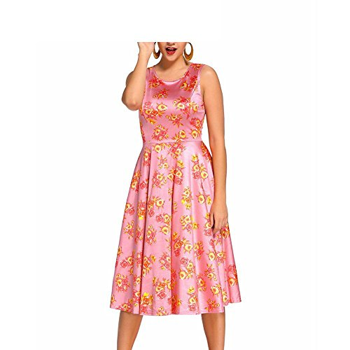 PU&PU Vêtements décontractés pour femmes / Détente Dot Floral Print Robe Swing Vintage, col rond sans manches haute taille pink