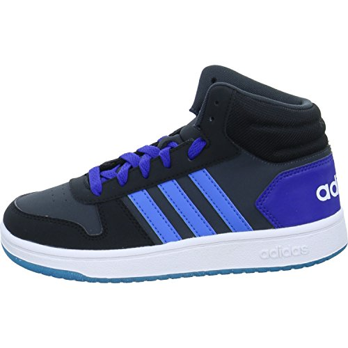 adidas Unisex-Kinder Vs Hoops Mid 2.0 Gymnastikschuhe, Schwarz (Carbon S18/Bright Blue/Core Black), 38 EU (Adidas-basketball-schuhe Schwarz)