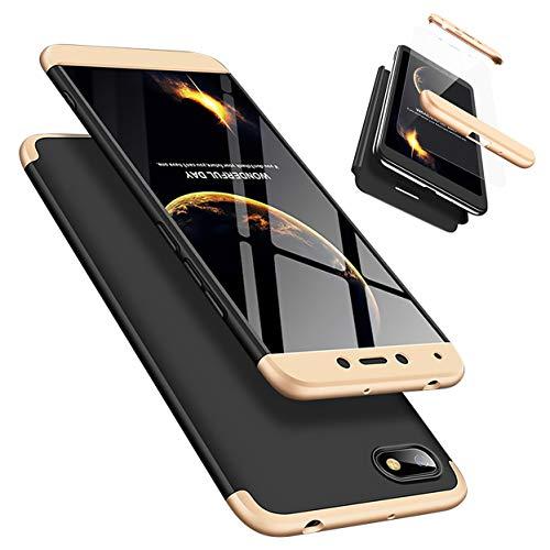 Funda Xiaomi Redmi 6A 360°Caja Caso + Vidrio Templado Laixin 3 in 1 Carcasa Todo Incluido Anti-Scratch Protectora de teléfono Case Cover para Xiaomi Redmi 6A (Oro Negro)