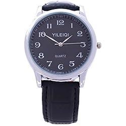 Yileiqi Men's Silver Plated Black Dial & PU Leather Strap Analog Quartz Wrist Watch