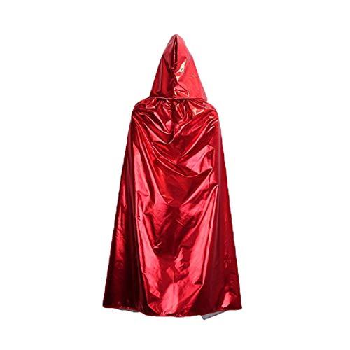 (Roter Simi Halloween Kostüm Grim Reaper Umhang Hot Stamping Prozess Tuch Horror Zauberer Geister Festival Performance Dress Up Erwachsene Umhang rot)