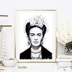 Din A4 Kunstdruck ungerahmt – Frida Kahlo Portrait Foto Fotokunst Künstlerin Star Ikone schwarz Deko, Geschenk Druck Poster Bild