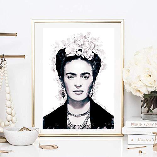 Din A4 Kunstdruck ungerahmt - Frida Kahlo Portrait Foto Fotokunst Künstlerin Star Ikone schwarz Deko, Geschenk Druck Poster Bild