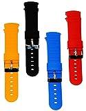 Unbekannt 4 Paar - Bunte Silikon Armbänder __ ROT - GELB - SCHWARZ - BLAU - 2 cm breit - passend für Disco Watch - Wechselarmband für Armbanduhr mit LED - Licht - Uhr f..