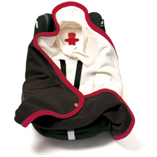 Baby Boum Super Warm Reversible Polar Fleece Polstar Car Seat and Pram Blanket (Charcoal/Red/Cream)