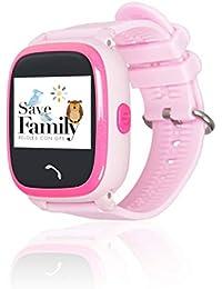 Reloj con GPS para niños SaveFamily Modelo Completo Rosa, smartwatch con Boton SOS, Permite Llamadas y Mensajes. Resistente al Agua Ip67. App Propia SaveFamily. Incluye Cargador
