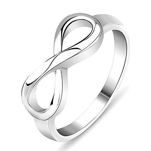 Plata ley 925-Anillo mujer infinito joyas TAMAÑO