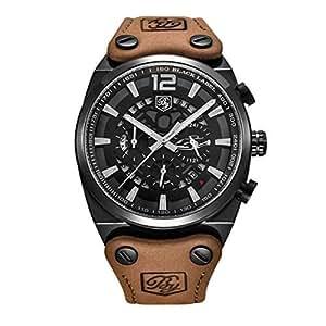 Bernsuisse BENYAR Japanese Quartz Genuine Leather Chronograph Waterproof Wristwatch for Men 5112 - Brown