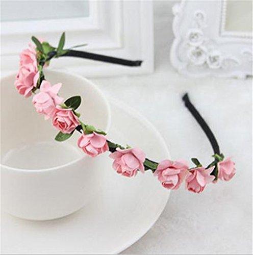 Zorux Mode-Rosen-Blumen Kronen-Stirnband Garland Blumenhaar-Band Zubeh?r Festival Hochzeit Haarschmuck f¨¹r Frauen Girl [Rosa]
