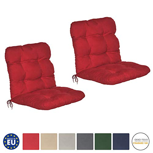 Beautissu set di 2 cuscini per sedie da giardino flair nl 100x50x8cm - comoda e soffice imbottitura - ideale anche per spiaggine - rosso