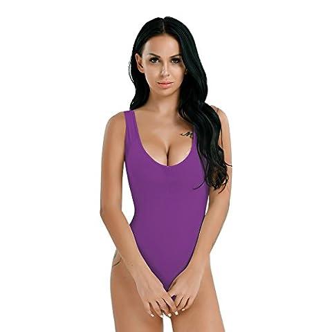 Tiaobug Sexy Body Bodysuit Damen transparent Dessous erotik Body Unteräsche ärmellos Nachtwäsche Lila One Size