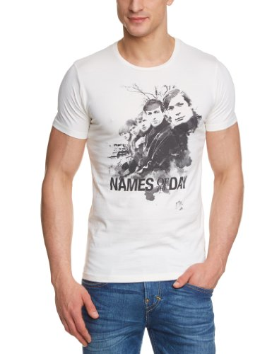 JACK & JONES PREMIUM Herren T-Shirt Slim Fit 12066586 Rolling Tee Weiß (WHISPER WHITE Print:SLIM - Names of the day)