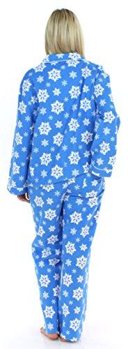 PajamaMania Schlafanzug für Damen aus Flanell mit langen Ärmeln Pyjama Blau mit Schneeflocken