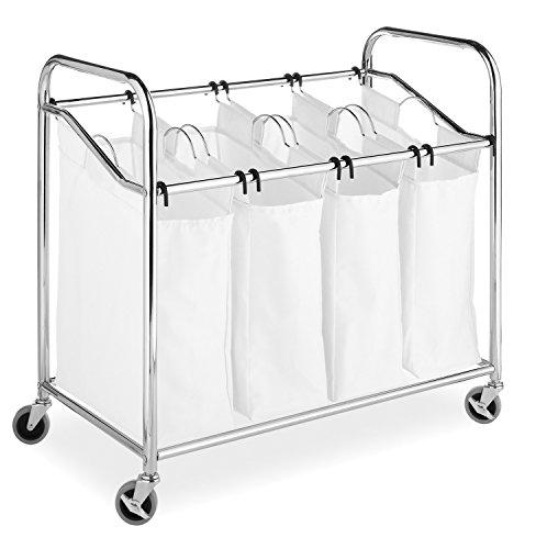 Whitmor 6097-3529-BB Chrom und Leinen, Wäschesortierer mit Vier Fächern