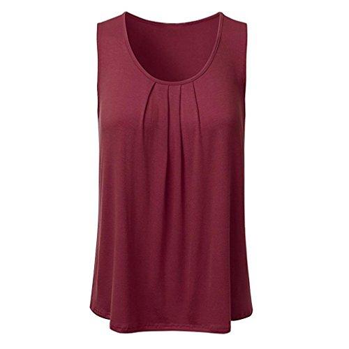 IMJONO Tank Top Frauen Casual Solid Sleeveless Plissee Scoop Neck Lose Bluse(Wein,EU-38/CN-L) (Scoop Fleece Sweatshirt Neck)