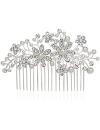 AWEI Mariée Attirant Accessoire Cheveux Mariage Perles Argentées Florales Peigne Cheveux Mariage, Fait à la Main Accessoires de Mariage