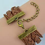 TrifyCore Angle Wings and Owls Bracelet PU Leather Weave Bracelet Both for Man and Women Deathly Hallow Bracelet Gift for Lovers