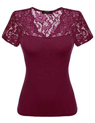 Zeagoo Damen Sexy V-Ausschnitt Shirt mit Spitze Kurzarm Slim Fit T-Shirt Top Bluse Weinrot