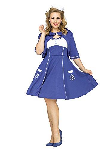 Plus Size Damenkostüm Sailor Girl blau-weiss S / M (Plus Size Sailor Girl Kostüm)