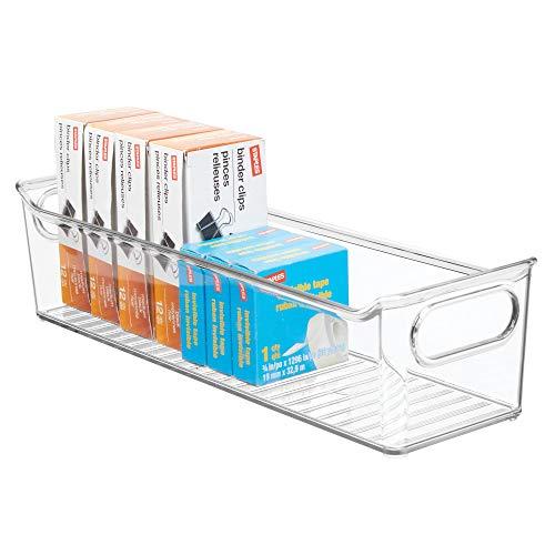 mDesign Aufbewahrungsbox mit integrierten Griffen - zur Aufbewahrung von Küchen-, Badezimmer- oder Büroutensilien - Kunststoffbox für die Schreibtischablage - durchsichtig