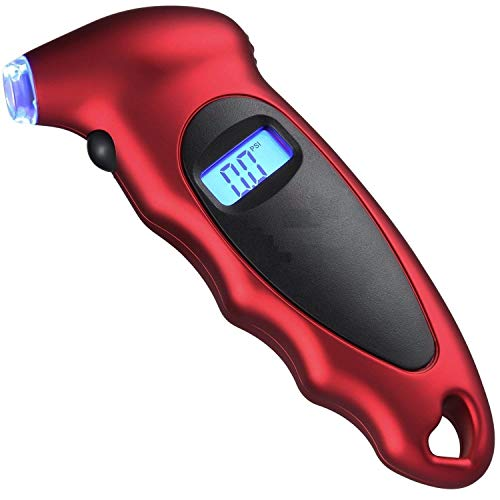 Techtest Digital Tyre Pressure Gauge 150 PSI 4 Settings for Car Truck Bicycle with Backlit LCD and Non-Slip Grip, Red Air Tester Tyre for Check Monitor Accurate Checker 150 Psi Monitoring System